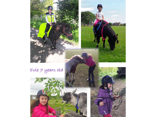 Anna Clayton - Evie with her pony Rosie and friends